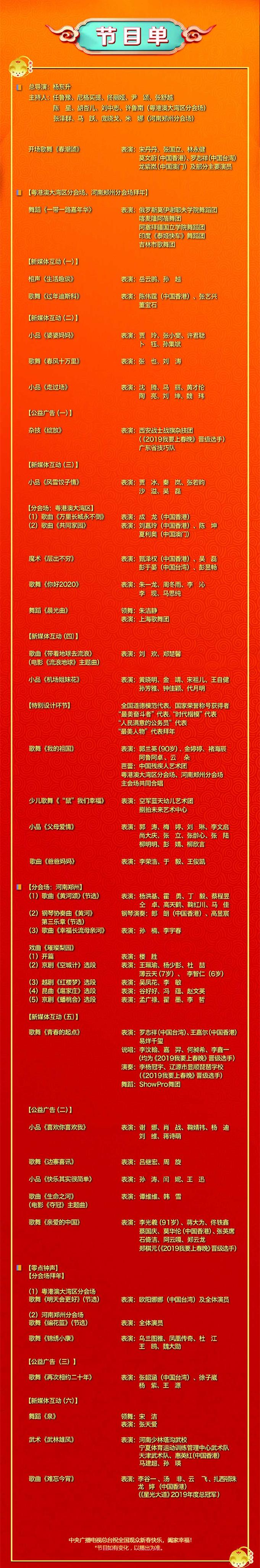 2020年央视春晚节目名单出炉_8点直播_共计30个节目